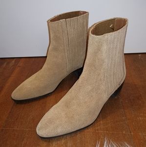 Zara Tan Suede Ankle Boots